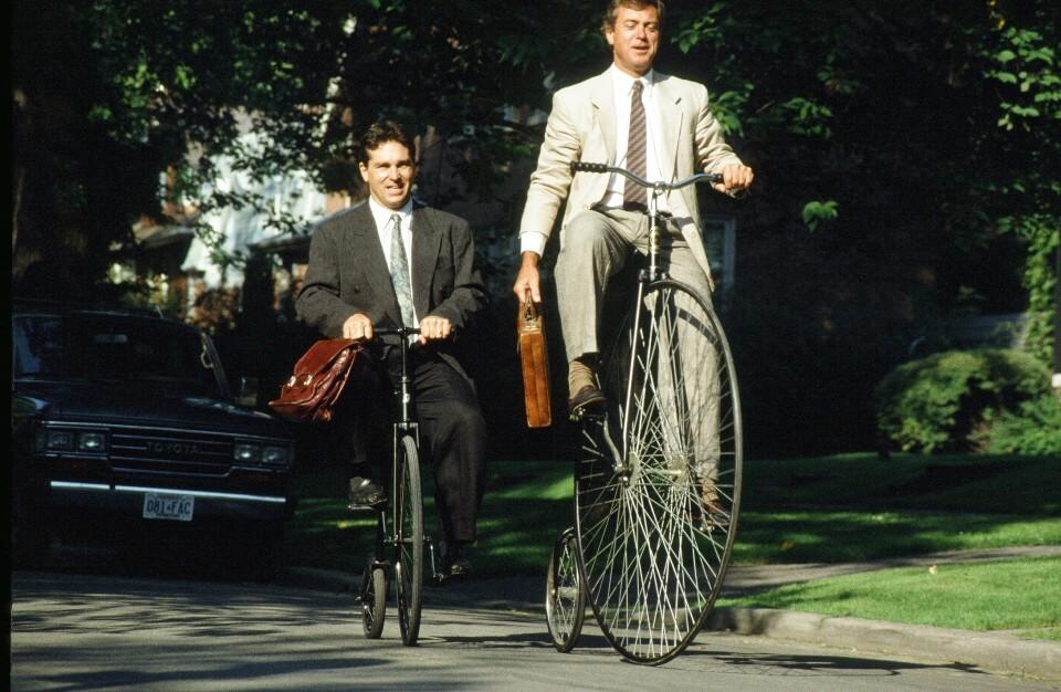 George Butterfield on a penny farthing bike