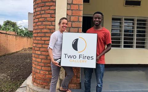Christine Tucker and Gadi Habumugisha at Two Fires Gallery in Rwanda